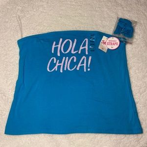 "Justice blue tube top ""Hola Chica"""